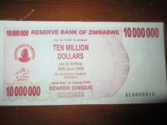 Almost worthless ten million Zimbabwe dollars