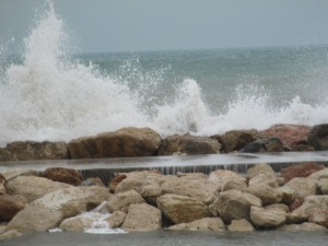 High waves on windy day