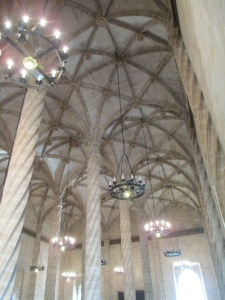 Ceiling of La Lonja de la Seda, originally painted blue with gold stars