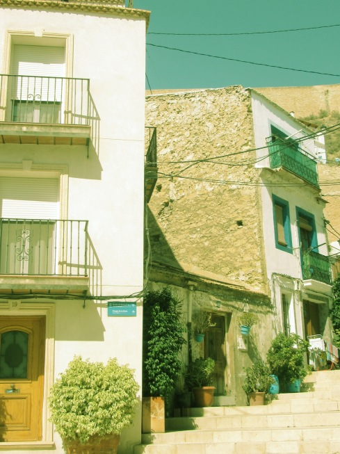 Old town buildings with original materials and signature blue pots
