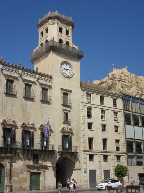 Ayuntamiento (town hall) with sliver of Santa Barbara castle