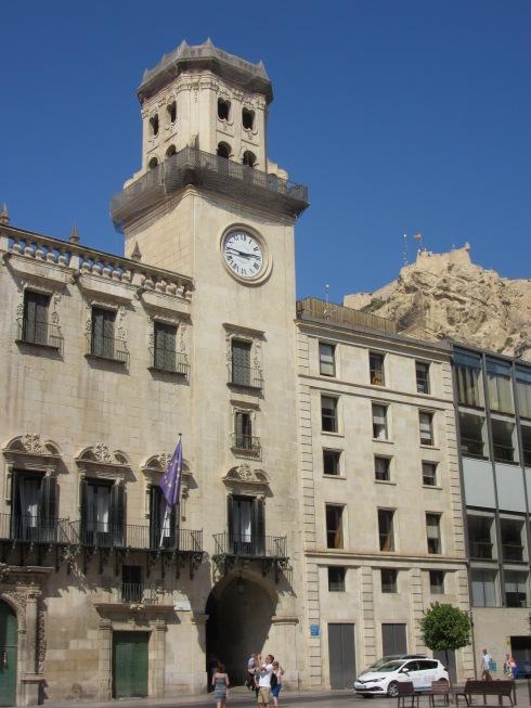 Ayuntamiento (town hall) with sliver of Santa Barbara castle